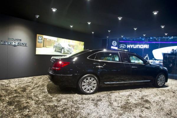 hyundai equus limousine in showroom