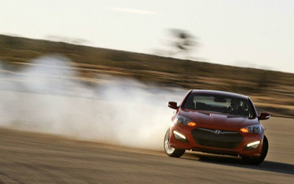 hyundai genesis coupe tire smoke