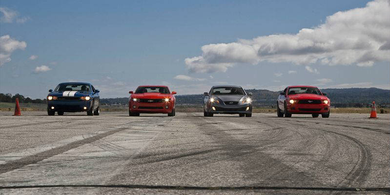 2011-ford-mustang-2010-chevy-camaro-rs-2010-hyundai-genesis-coupe-2010-dodge-challenger-group-drag f
