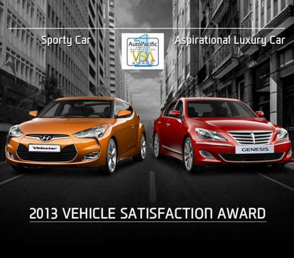 2013 vehicle satisfaction award veloster genesis