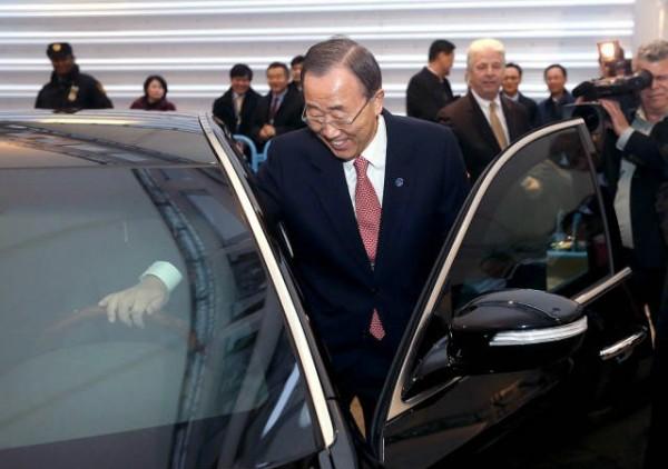 un secretary general ban ki moon hyundai equus