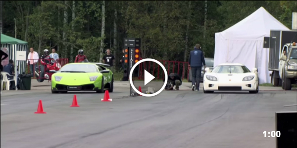 1024hp CCXR Koenigsegg vs Lamborghini LP670-4 SV!