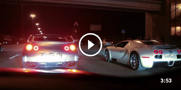 awesome night drag racing! bugatti veyron vs nissan gt-r! | muscle