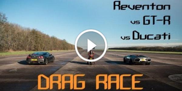 Drag Race Lamborghini Reventon vs Nissan GT-R vs Ducati 2 Lamborghini Reventon Race