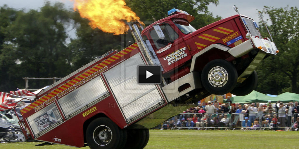 fire truck wheelie