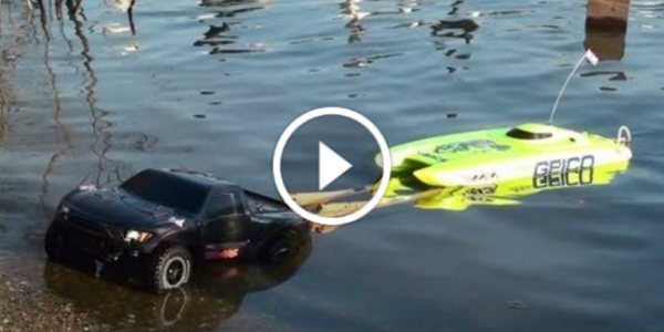 Launching RC Miss Geico Speed Boat With An RC Truck 2