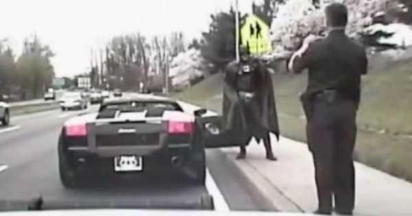 Cops Pull Over a Batmobile batman police 2
