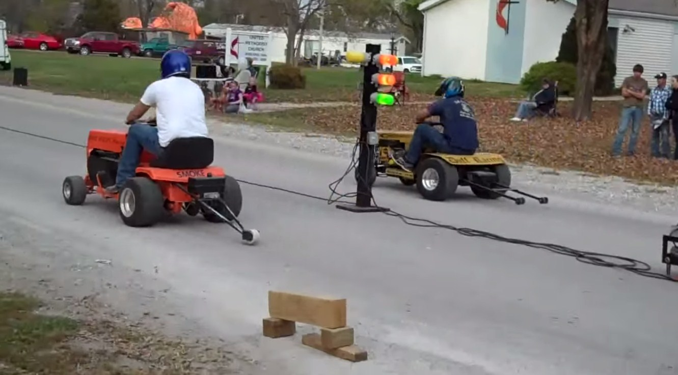 Lawnmower Drag Races! I Know You - We All Want To Buy One Now!