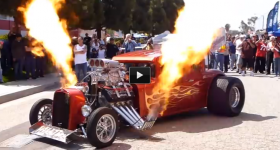 hot rod shooting flames