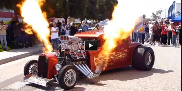 hot rod shooting flames