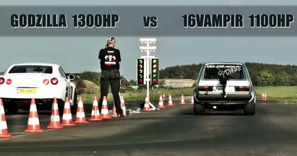 VW Rabbit vs 1300 HP Nissan GT-R 11