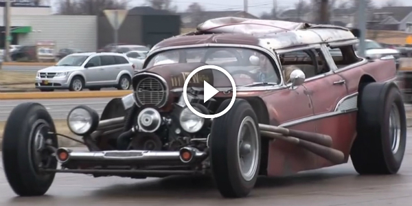 RAT ROD WAGON INSANE 57 Chevy WAGON – RAT ROD! Watch The EXCLUSIVE INTERVIEW With The Owner and See The Beast In Action!!