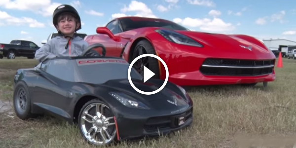 This Kid Drives An AWESOME Corvette POWER WHEELS Model