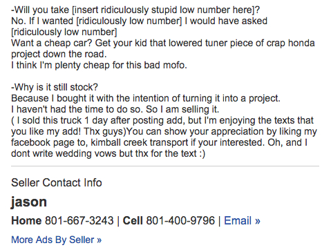 This Guy Sold His Truck 1 DAY AFTER POSTING this CREATIVE AD! Reading It Will Surely MAKE YOUR DAY! 4