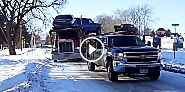 Fastest Diesel Truck >> CHEVY SILVERADO Pulls A Jackknifed Semi Out of A Snowy Ditch!