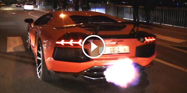 Aventador Amp Ferrari 430 Scuderia Shooting Flames