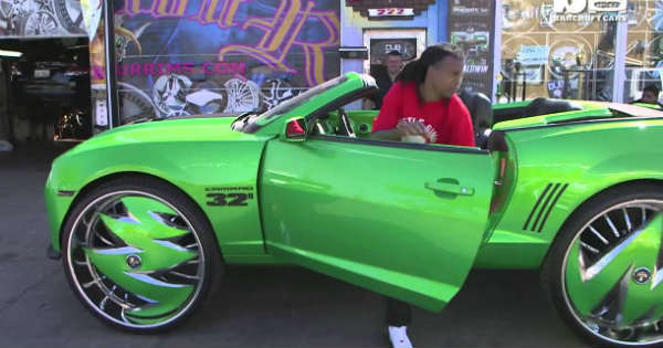 Custom Green Camaro Sits On Massive 32-inch Rims 1