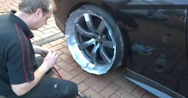 You Own A Nissan GTR Start Painting Its Alloy Wheels Or Rims WITHOUT TAKING THE WHEELS OFF AWESOME 2