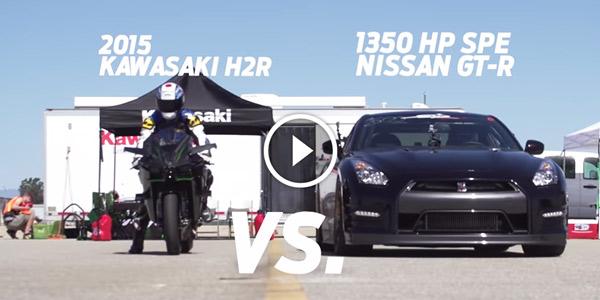 Kawasaki H2R vs 1350hp Nissan GTR 12 Mile Airstrip Race