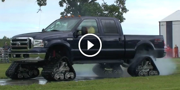 Rubber Track Ford f-350 FX4 Track Tire Burnouts $4000 Worth Of A Tire)! 41