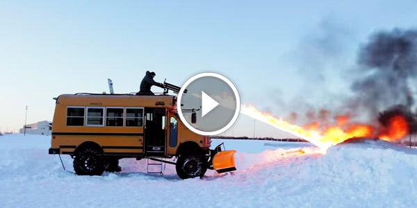 Here Is One Way How To Fight Snow – USING A FLAMETHROWER!