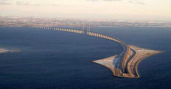 Oresund Bridge Connecting Malmo And Copenhagen tunnel underwater 2