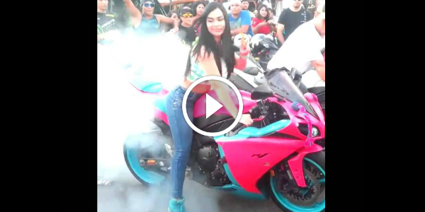 She Spins That Wheel Wheelie! Bike GIRL BURNOUT 265