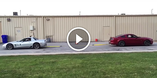 Chevy Corvette Z06 C5 vs 2014 Ford Mustang GT Tug O War