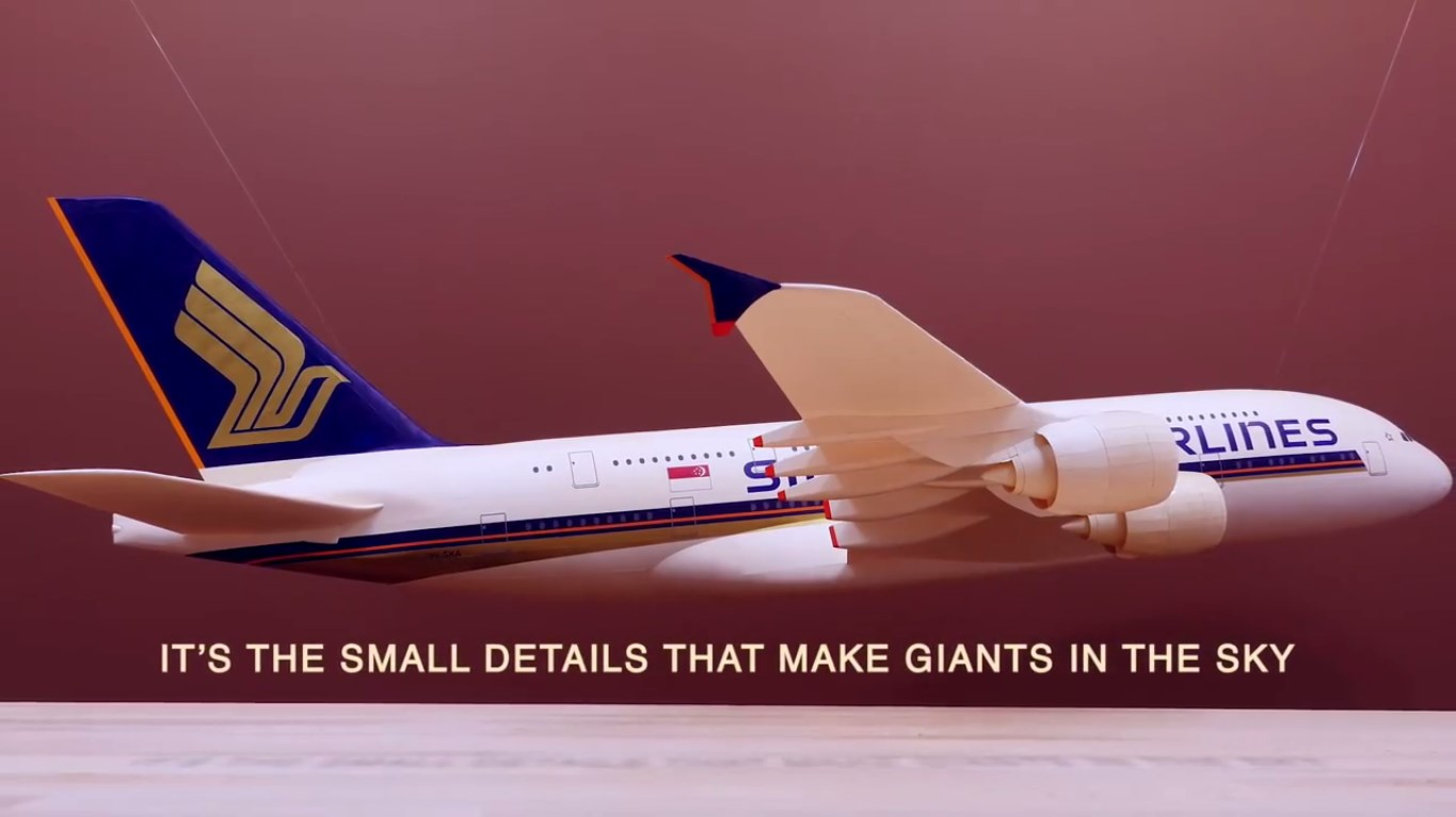 Small Scale Singapore Airlines Airplane Made Of 100 BALSA WOOD Pieces 3
