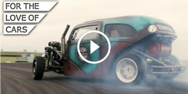 Homemade 1953 Ford Anglia Saab Turbo Drift Rod 1 play