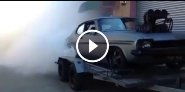 Supercharged Car Doing A Trailer Burnout 1 play