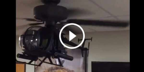 AH 6 Model RC Helicopter Hooked As A Ceiling Fan! Wicked!   Muscle Cars  Zone!