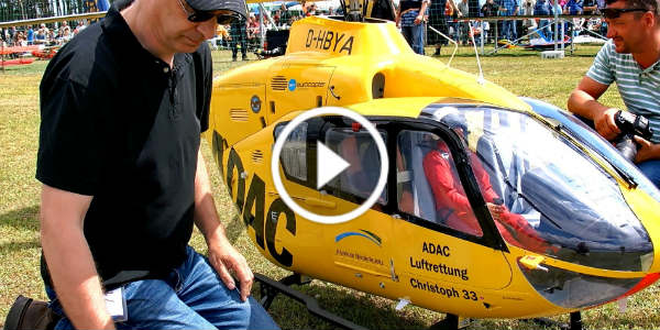 BIGGEST RC SCALE MODEL TURBINE HELICOPTER EC-135 ADAC NOTARZT CHRISTOPH 33 21