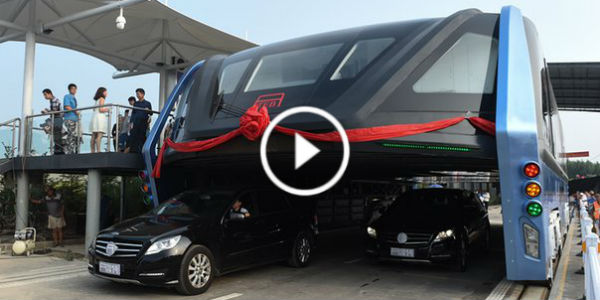 New Chinese Bus Concept first test drive above cars 54