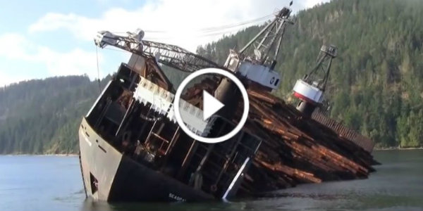 Unloading Timber Canadian Style 21