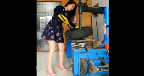 Japanese Car Brands >> Japanese Girl Mastered Working On This Tire Replacement Machine! - Muscle Cars Zone!