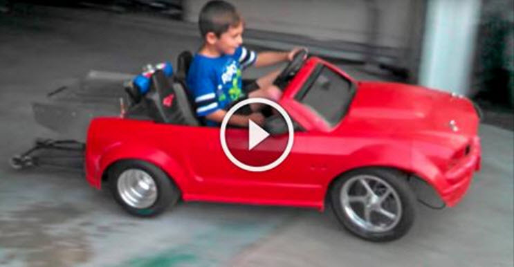 START'EM YOUNG! Check Out This 24 Volt Mustang Power