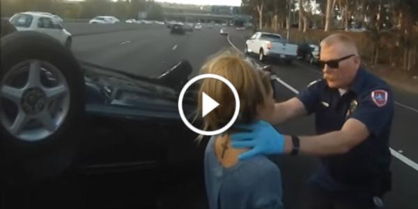 Biker Rescues girl Overturned Car Accident Helmet 11