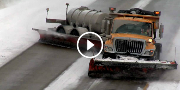 Two Lane Snow Plow Drifting Missouri Canada winter 11