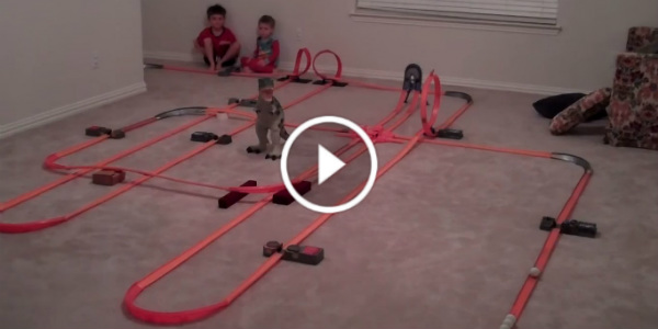 The mother of all hot wheels tracks covers entire house for Classic house tracks 2000