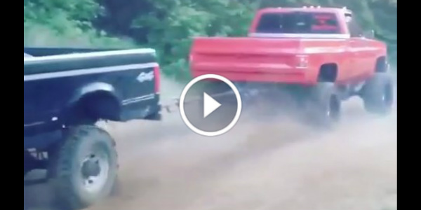 TUG Of WAR Chevrolet C10 Truck VS Ford Truck 61