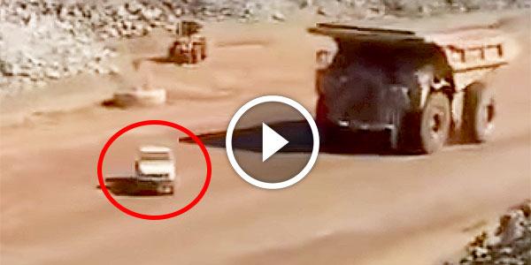 Cat 793B Mining Truck Runs Over Toyota SUV pancake