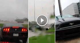 Ford Mustang Crash Near A Lamborghini Dealership