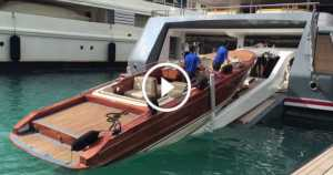 Boat Crew Loads Up Luxury Tender In SuperYacht 1