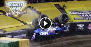 World First Monster Truck Front Flip VP Racing Fuels Mad Scientist 2017 Monster Jam 3