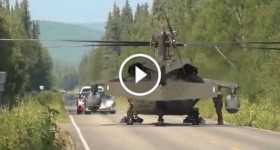 Black Hawk MEDEVAC Land In The Middle Of A Road 1 TN
