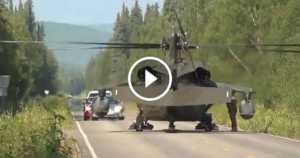 Black Hawk MEDEVAC Land In The Middle Of A Road 1 TN