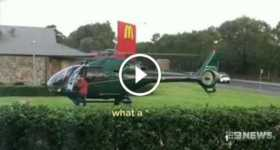 Hungry Pilot Lands His Helicopter At Sydney McDonalds 1 TN