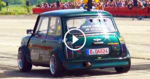 Modified Mini Cooper Hayabusa Motorbike Engine Drag Race 2