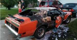 Classic Mustang Burnt Out In Flames 1